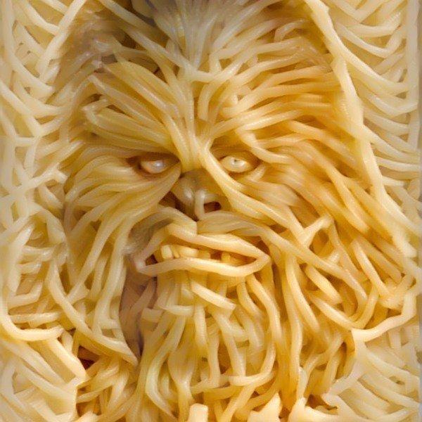 spaghetti ostagram of chewbacca