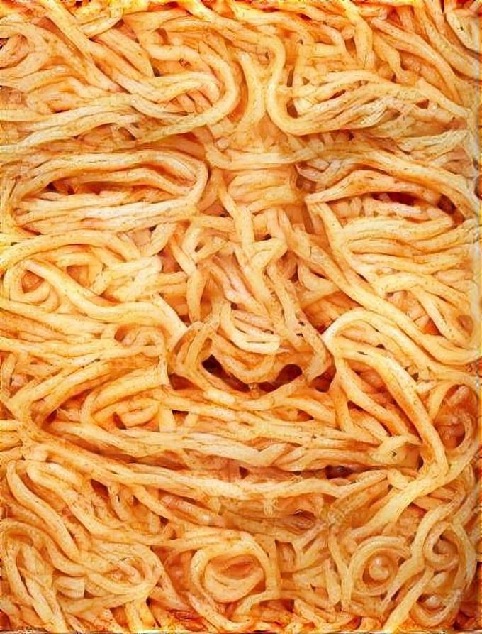 Close up of smiling Donald Trump spaghetti ostagram