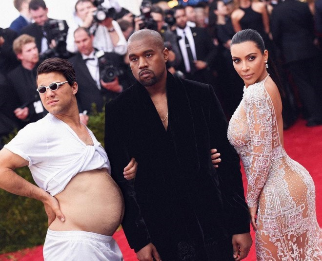 Average Bob photoshopped into pic of Kanye West and Kim Kardashian on the red carpet