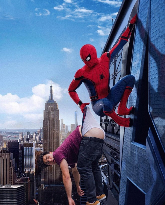 Spiderman giving Average Bob a wedgie over New York