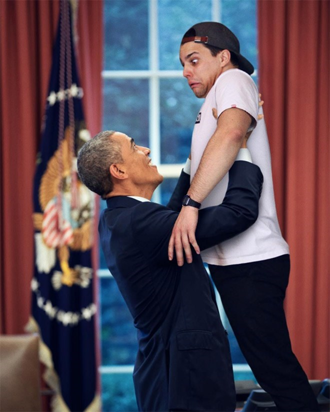 Average Bob as a kid being lifted up by Obama