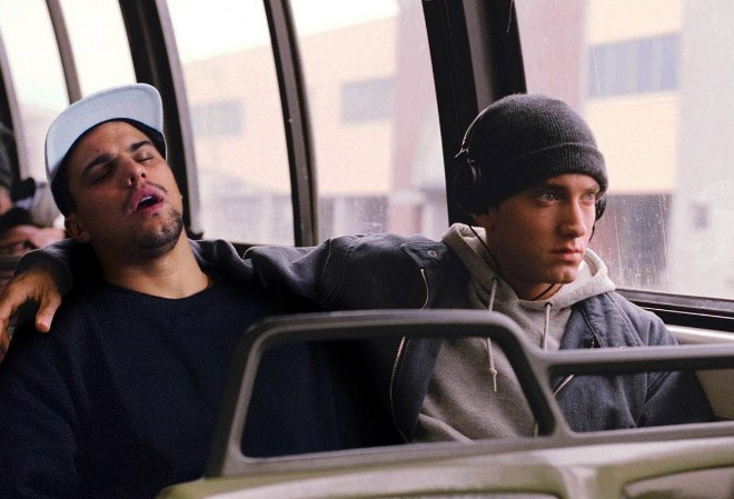 Average Bob passed out on a bus next to Eminem