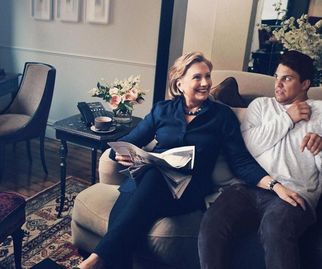 Average Bob a bit freaked out from Hillary's hand on his leg.