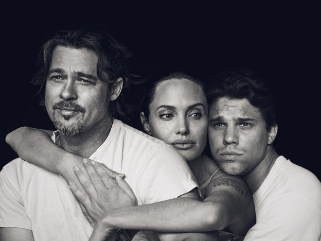 Black and white photo of Angelina Jolie, Brad Pitt, and Average Bob