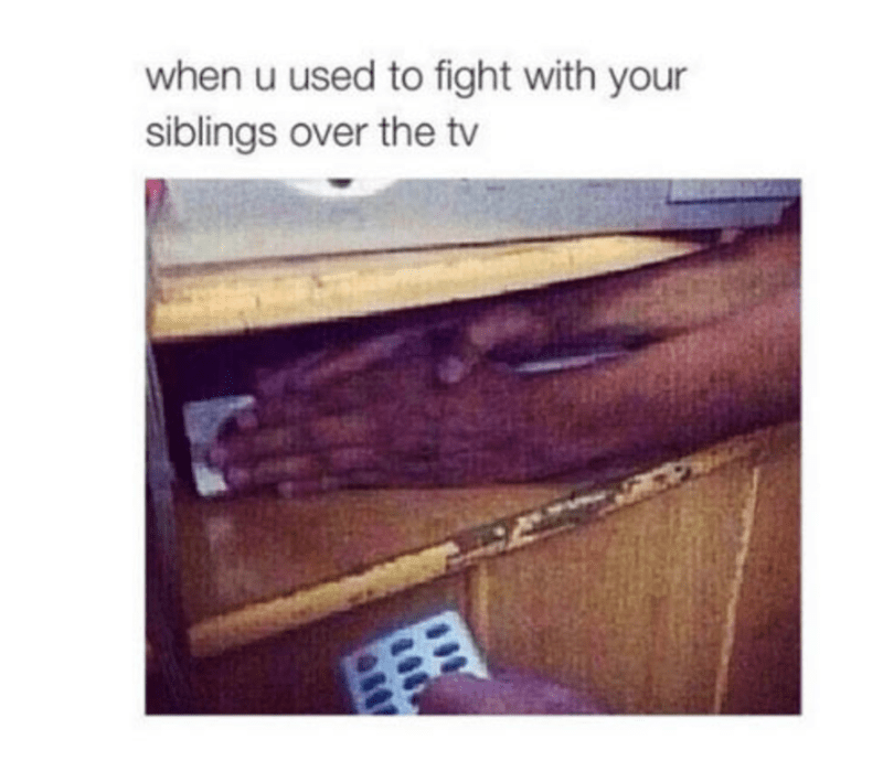 Sibling meme about covering the sensor on the cable box to stop brother from changing channel