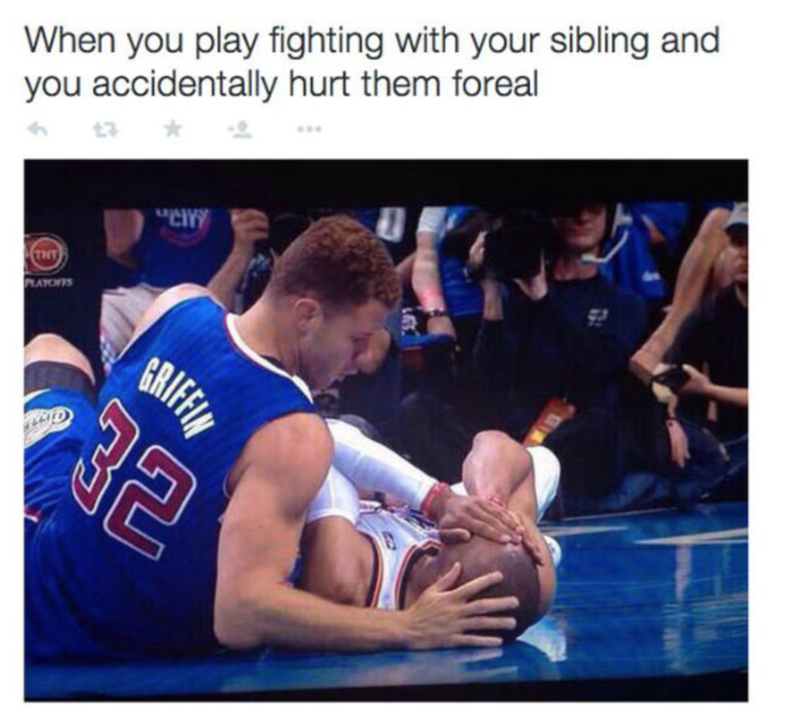 Meme about accidentally hurting sibling when fighting