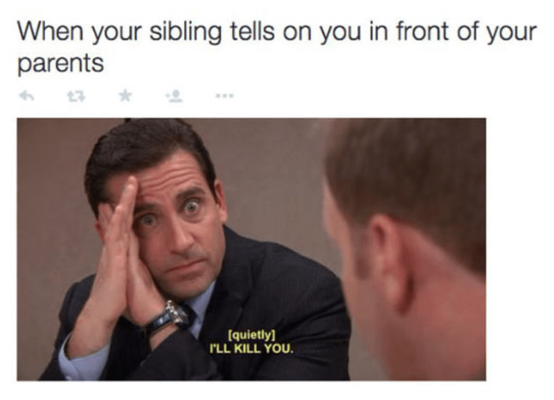 Michael Scott meme about when sibling tells on you in front of your parents