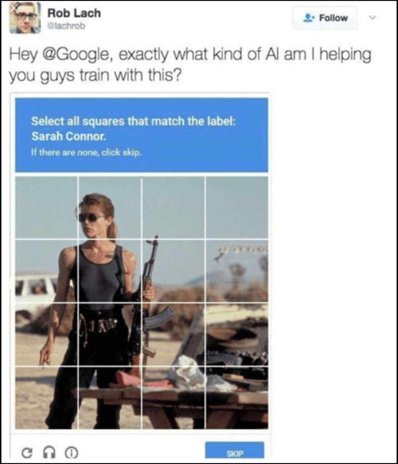 Tweet of captcha asking you to identify Sarah Connor and someone asking what kind of AI am I helping train with this