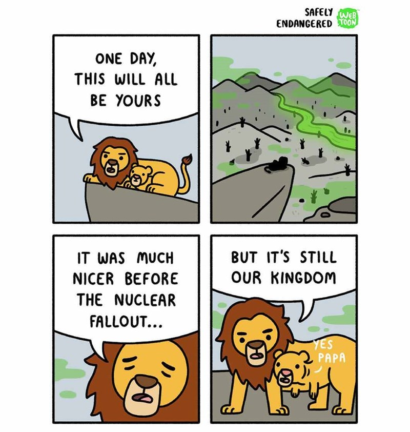 Lion King webcomic but it is after nuclear apocalypse.
