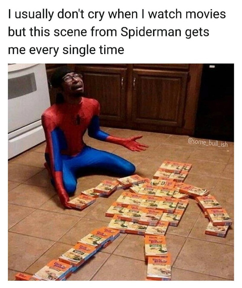 Funny meme of guy in spider-man costume crying over a body made out of uncle ben's rice boxes.