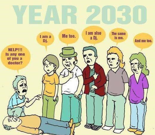 Funny cartoon about how in 2030 there will be no doctors, only djs.