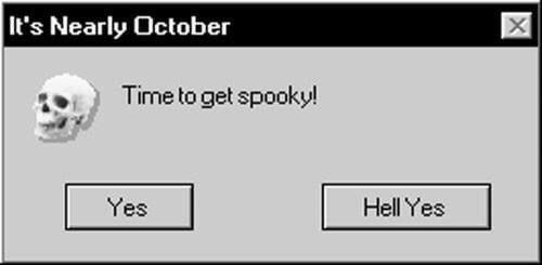 Meme about getting spooky in October, options are Yes and Hell Yes