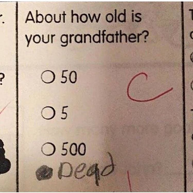 FUnny meme with school assignment asking how old grandfather is.