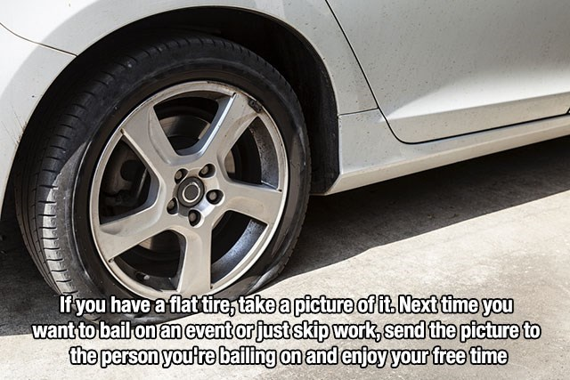 Lifehack of using flat tire picture to skip work