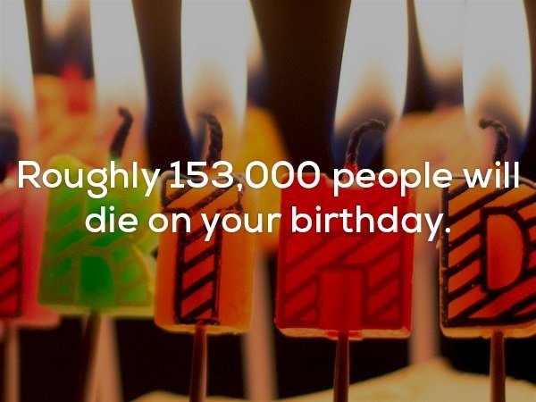 Font - Roughly153,000 people will die on your birthday,
