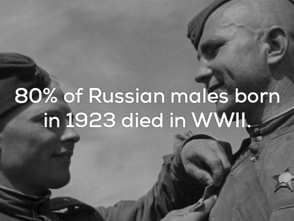 Forehead - 80% of Russian males born in 1923 died in WWI.