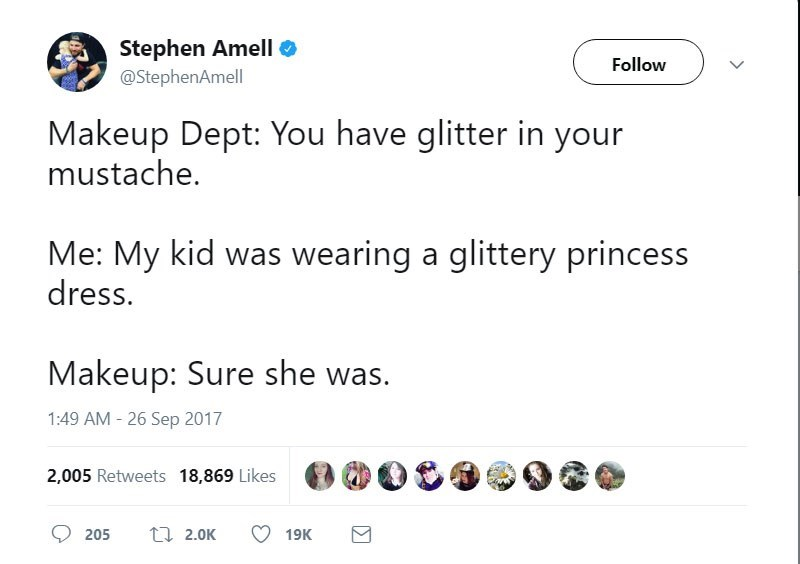 Tweet about Stephen Ameli telling his makeup dept that he has glitter in his mustache from helping his kid wear a glittery princess dress