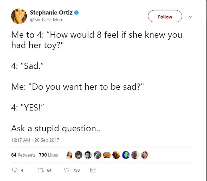 Stephanie Ortiz asks kid of 4 a stupid question
