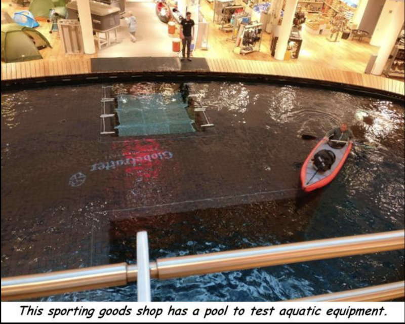 Sporting goods shop with pool to test out aquatic equipment