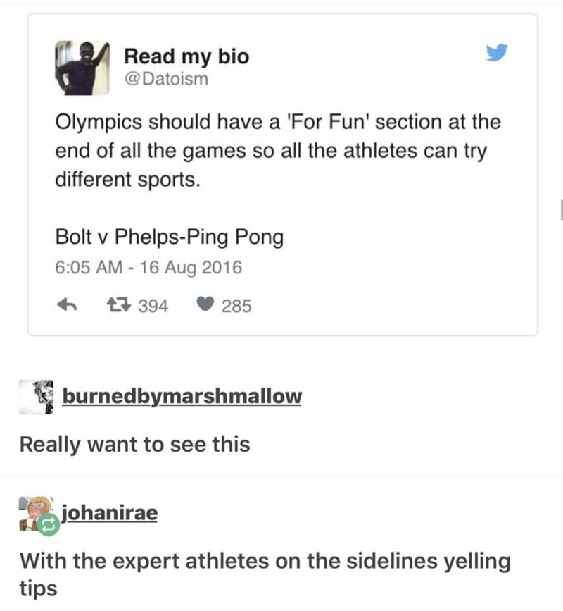 Tweet about idea for For Fun Olympics time