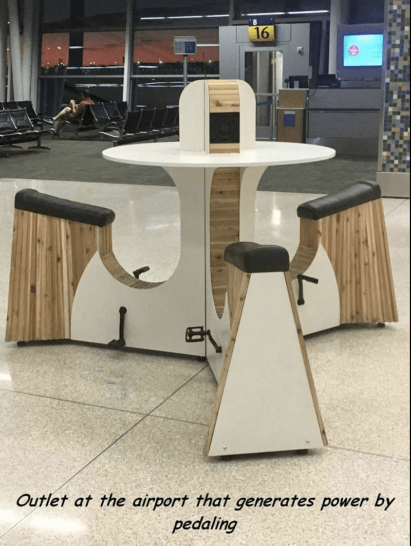 Airport pedal station that generates power