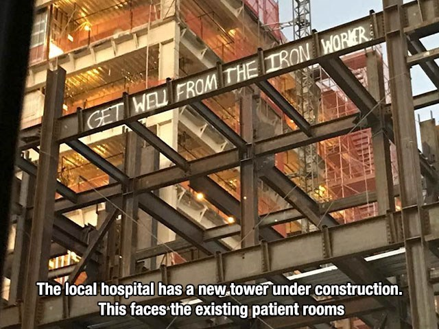 Iron Workers spray message to the hospital ward