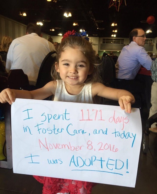 Girl got adopted out of foster care