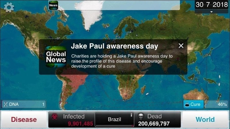 Funny meme comparing Jake Paul to a disease.