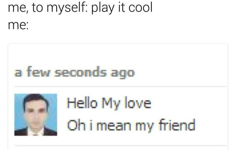 Funny meme about playing it cool in messages with someone you like.