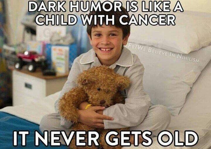 meta meme about dark humor with picture of child hugging bear doll