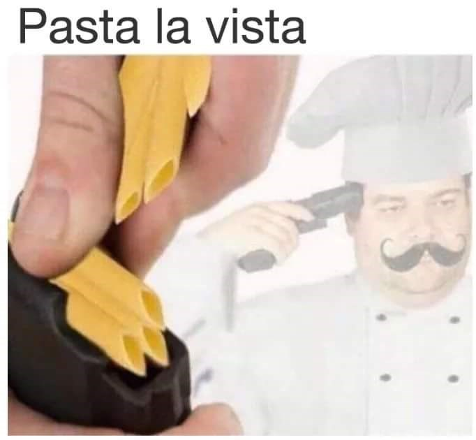 monday meme about Italian chef committing suicide by pasta