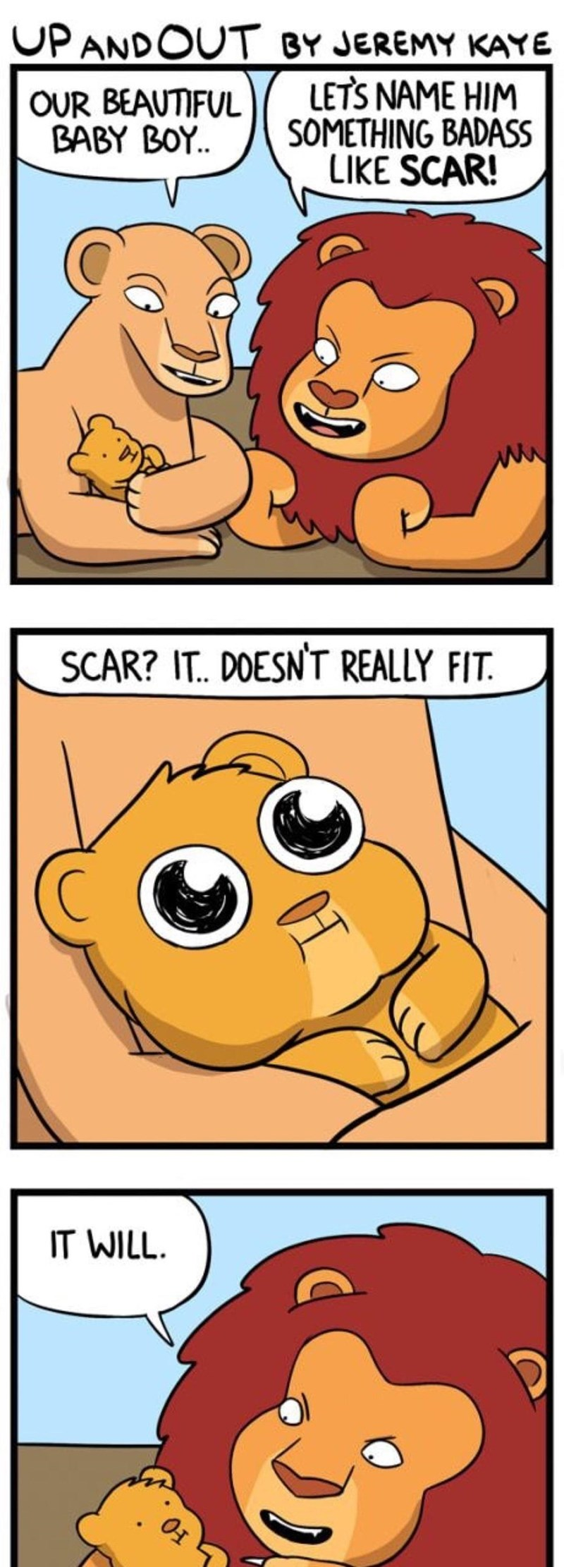 comic of fake origin story explaining how Scar from The Lion King got his name