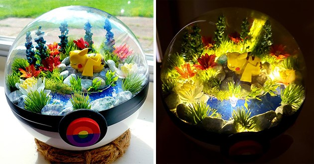 Pokemon terrariums cool artwork that is sold on Etsy by James Croft