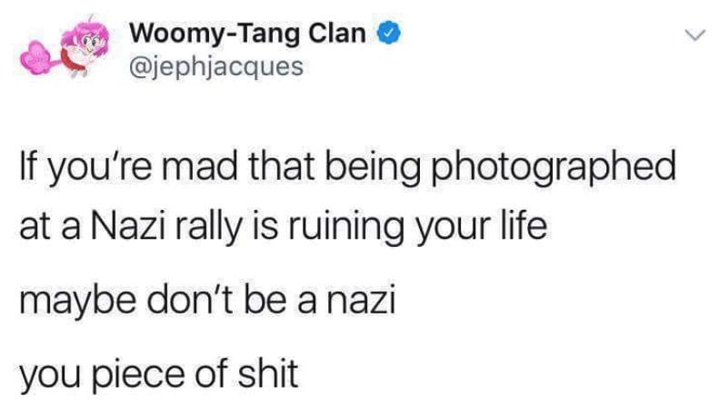 dark-humored Tweets about not being at a nazi rally