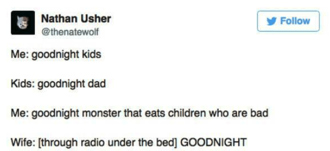 dark-humored Tweets of parents scaring their children to go to sleep