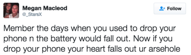 dark-humored Tweets about dropping your phone making you feel like your world fell apart