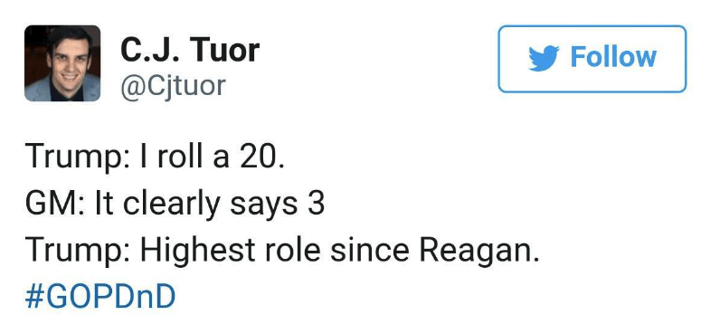dark-humored Tweets about Trump rolling a 20