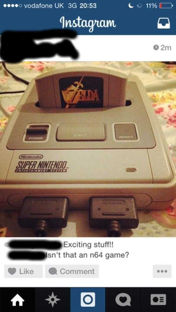 Instagram 02m 7LDA ECY POWER Nintendo SUPER NINTENDO TERTAINMENT SYSTM Exciting stuff!! sn't that an n64 game? Like Comment