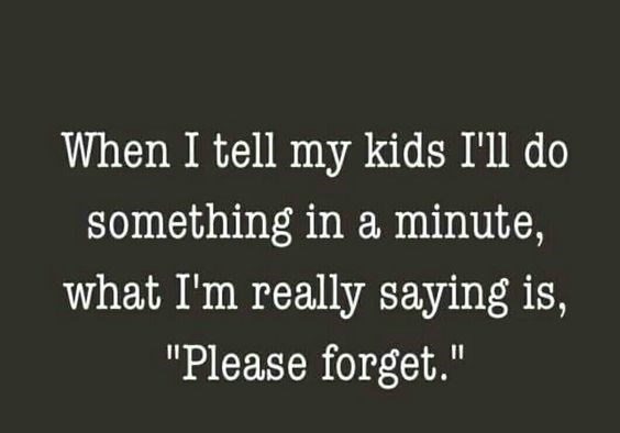 """Text - When I tell my kids I'll do something in a minute, what I'm really saying is, """"Please forget."""""""