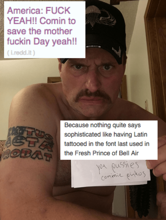 savage roast of man with tattoos and mustache
