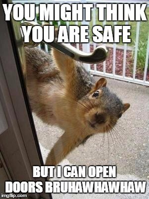 Internet meme - YOUMIGHT THINK YOUARE SAFE BUTICANOPEN DOORS BRUHAWHAWHAW imgflip.com