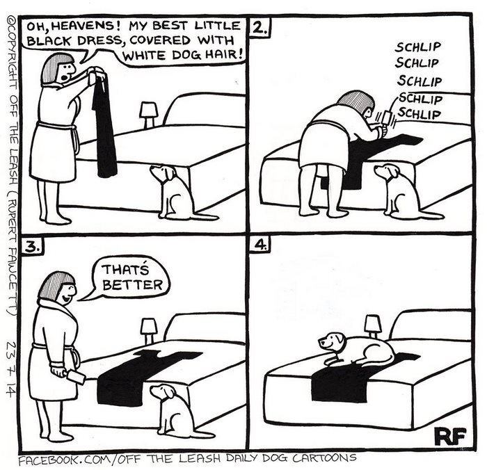 webcomic - Cartoon - OH, HEAVENS! MY BEST LITTLE 2 BLACK DRESS, COVERED WITH WHITE DOG HAIR! SCHLIP SCHLIP SCHLIP SCHLIP SCHLIP 4 3. THATS BETTER RF FACEBOOK.COM/OFF THE LEASH DAILY DOG CARTOONS OCOPYRIGHT OFF THE LEASH RUPERT FAWCETT 23 7 14