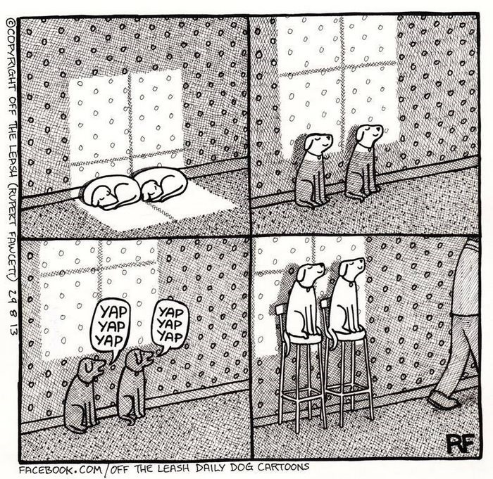webcomic - Text - YAP YAP YAP YAP YAP YAP C FACEBOOK.COM/OFF THE LEASH DAILY DOG CARTOONS O COPYRIGHT OFF THE LEASH (RUPERT FAWCET 298 13