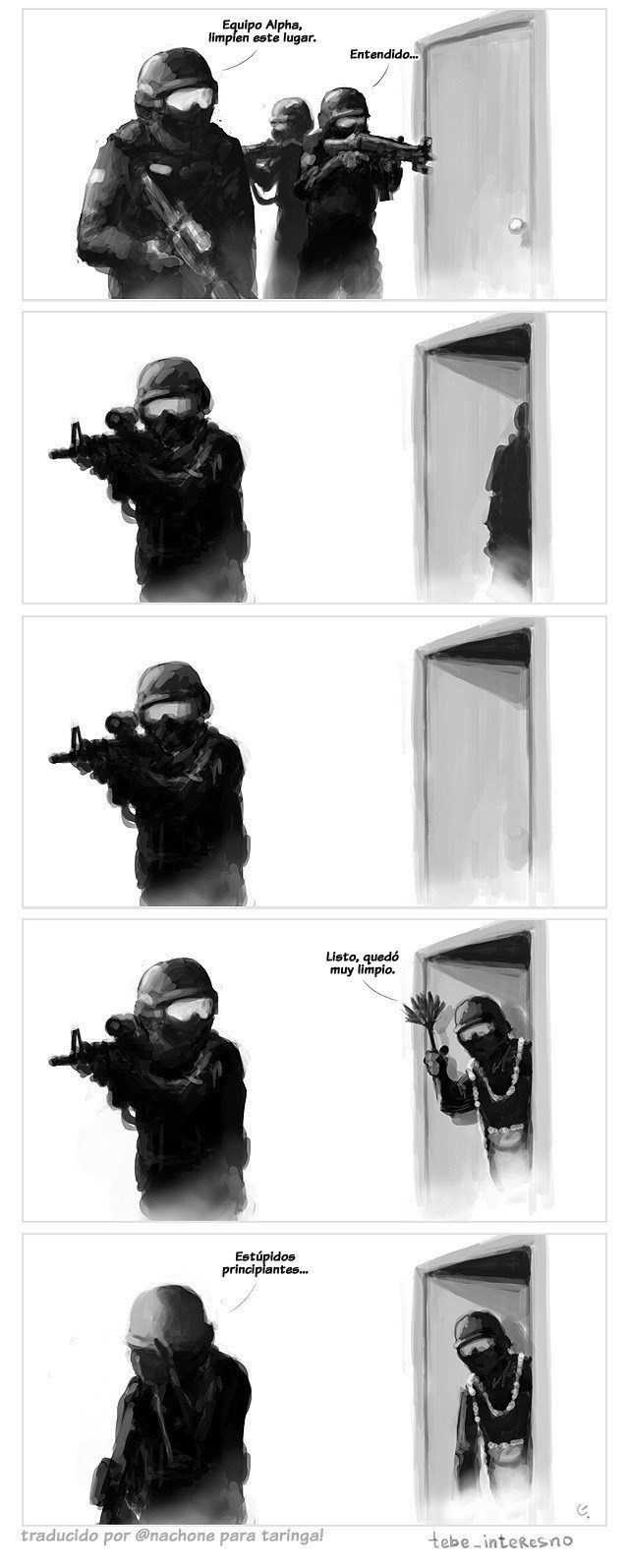 soldado le pide a otro que limpie el lugar