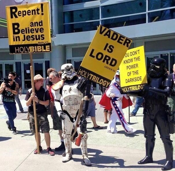 Protest - Repent! VADER and Believe in Jesus IS LORD Mark 33 OU DON'T KNOW THE POWER OF THE DARKSIDE HOLYBIBLE ORDER 66 HOLYTRILOGY 4OLYTRILOGY