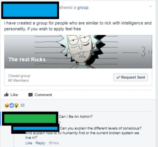 Text - shared a group. i have created a group for people who are similar to rick with intelligence and personality, if you wish to apply feel free 3 1 The real Ricks Closed group 8 Members Request Sent Comment Like 33 Can I Be An Admin? Can you explain the different levels of conscious? nd expiain now to Tox humanity first or the current broken system we live in? Like Reply 16 hrs