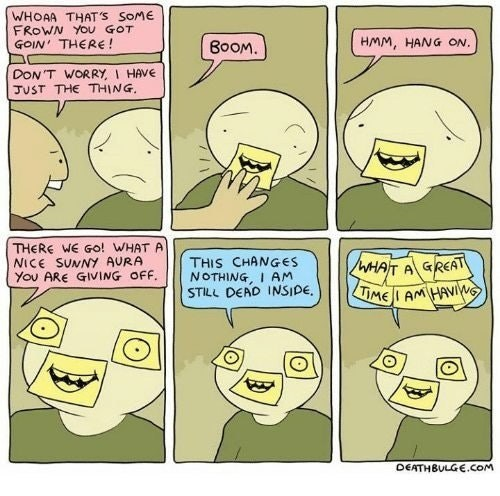 Funny web comic about someone putting post-its over someone's face to make them feel happy.
