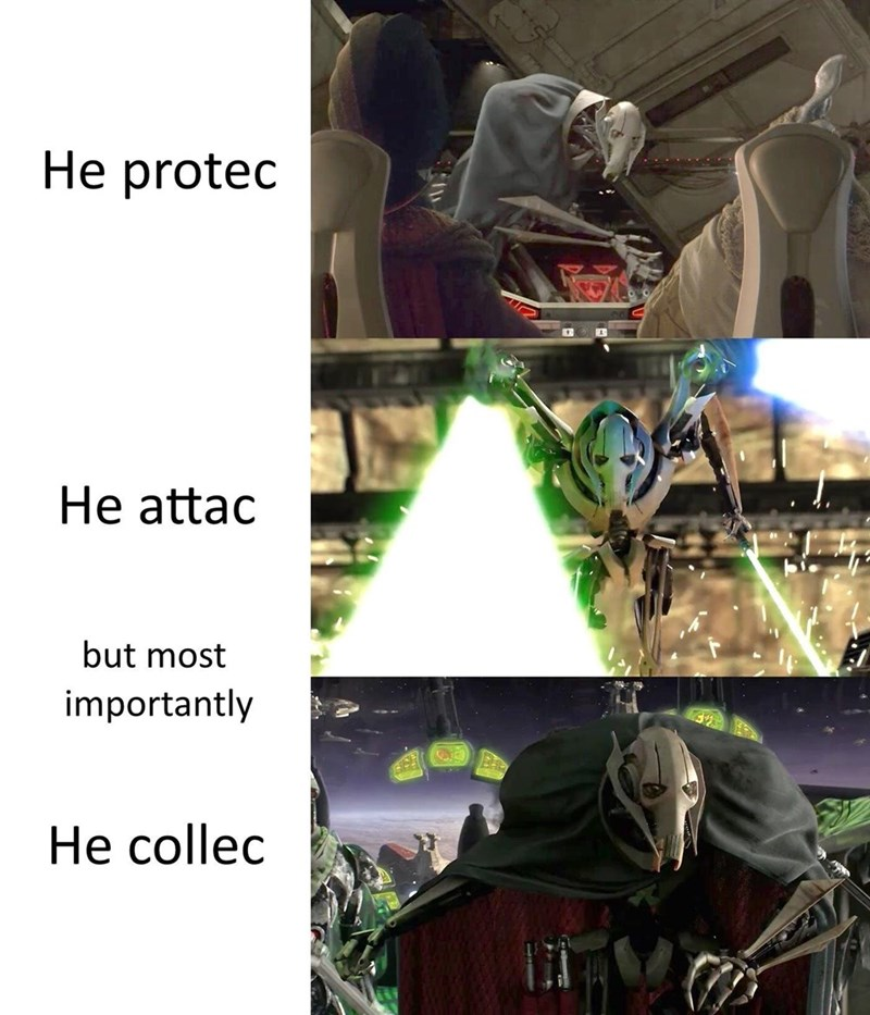 Fictional character - Не protec He attac but most importantly Не collec