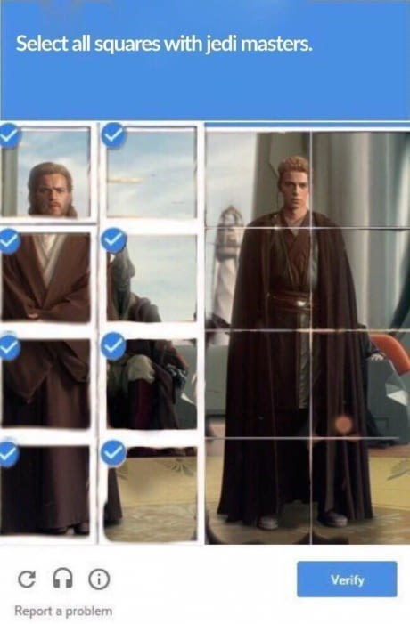 Outerwear - Select all squares with jedi masters. c n Verify Report a problem