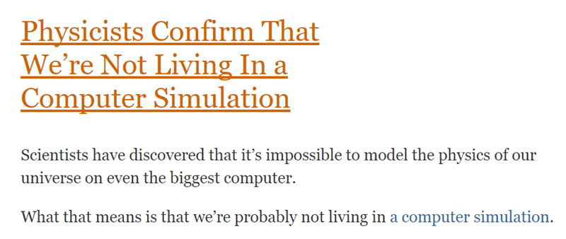 Wednesday meme with headline about the universe not being a simulation